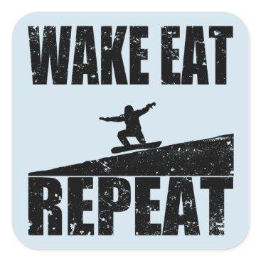 McTiffany Tiffany Aqua Wake Eat Snowboard Repeat #2 (blk) Square Sticker