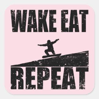 Wake Eat Snowboard Repeat #2 (blk) Square Sticker