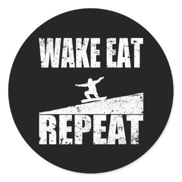 McTiffany Tiffany Aqua Wake Eat Snowboard Repeat #2 (wht) Classic Round Sticker