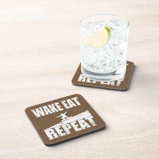 Wake Eat Snowboard Repeat #2 (wht) Coaster