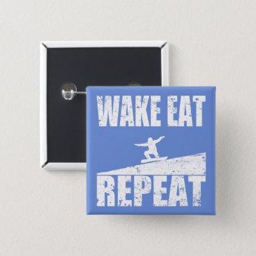 McTiffany Tiffany Aqua Wake Eat Snowboard Repeat #2 (wht) Pinback Button