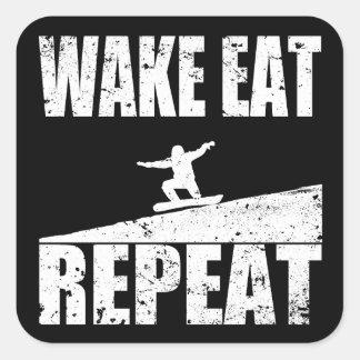 Wake Eat Snowboard Repeat #2 (wht) Square Sticker