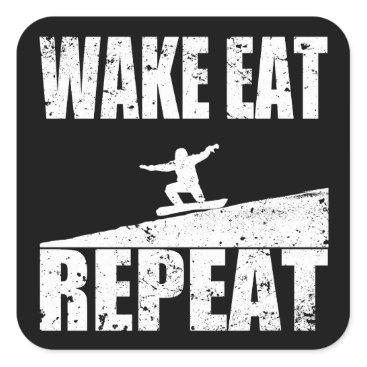 McTiffany Tiffany Aqua Wake Eat Snowboard Repeat #2 (wht) Square Sticker