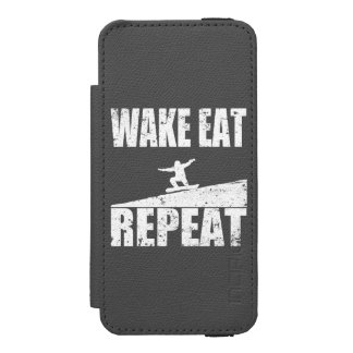 Wake Eat Snowboard Repeat #2 (wht) Wallet Case For iPhone SE/5/5s