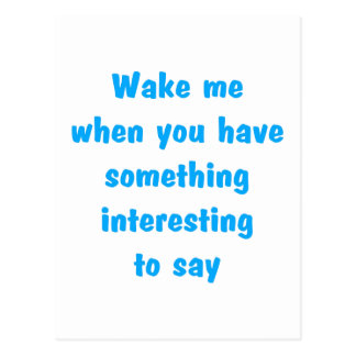 wake me lt blue postcard