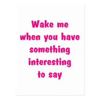 wake me pink postcard