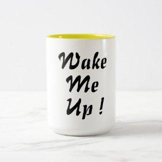 wake me up coffee mug design whimsical chic funny