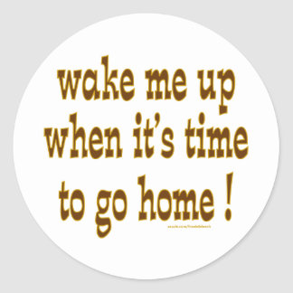 Wake Me Up When It's Time To Go Home Classic Round Sticker