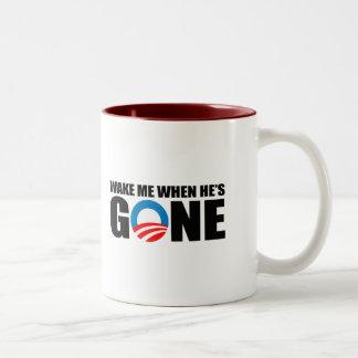 WAKE ME WHEN HE'S GONE Two-Tone COFFEE MUG