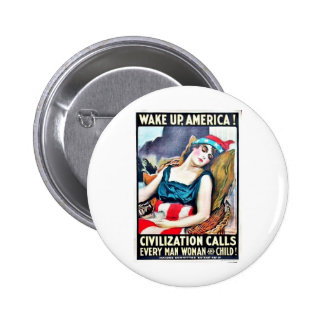 Wake Up America Pinback Buttons