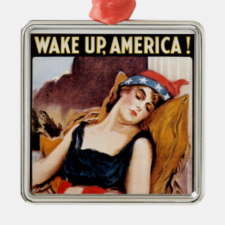 Wake Up America Square Metal Christmas Ornament
