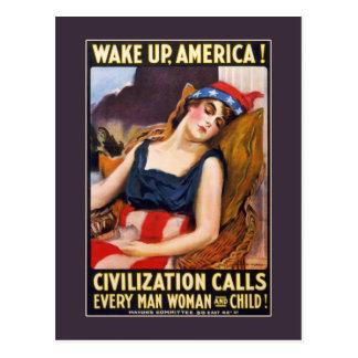 Wake up, America! Postcard