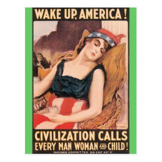 Wake Up America Postcard