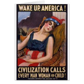Wake Up America Poster Card