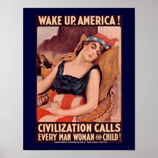 Wake Up America  Vintage Poster
