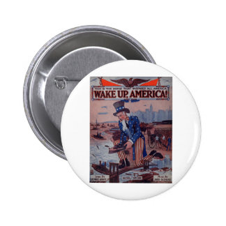 Wake Up America! Vintage Uncle Sam Music Art 2 Inch Round Button