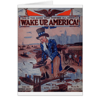 Wake Up America! Vintage Uncle Sam Music Art Card