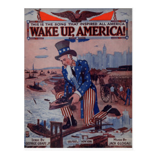 Wake Up America! Vintage Uncle Sam Music Art Postcard