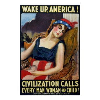 Wake up America! Vintage World War I Poster