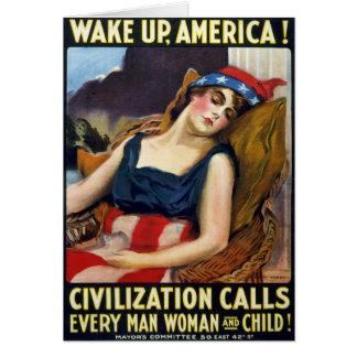 Wake up America! Vintage World War I Poster Card