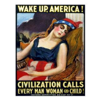 Wake up America! Vintage World War I Poster Postcard