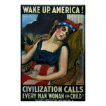 Wake Up America! ~ Vintage WW1 Print