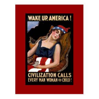 Wake-Up America WWI Postcard