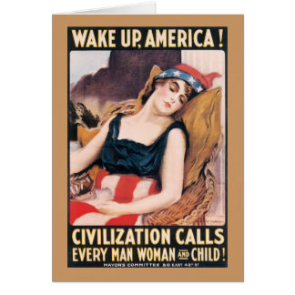 Wake Up America WWI Poster Card