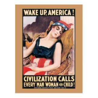 Wake Up America WWI Poster Postcard