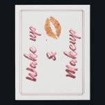 """Wake up and make up faux canvas print<br><div class=""""desc"""">wake up and make up quote rose gold canvas art.</div>"""