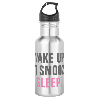 Wake Up and Sleep Stainless Steel Water Bottle