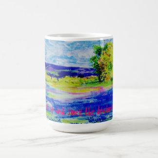 wake up and smell the bluebonnets coffee mug