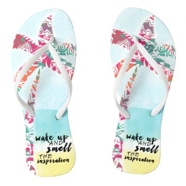 Beach Themed wake up and smell the inspiration, beach and palm flip flops