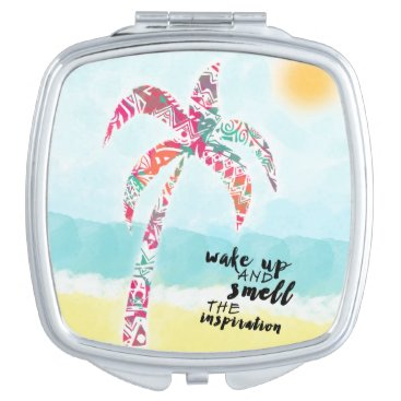 Beach Themed wake up and smell the inspiration, beach and palm makeup mirror