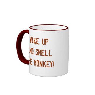 WAKE UP AND SMELL THE MONKEY! RINGER COFFEE MUG