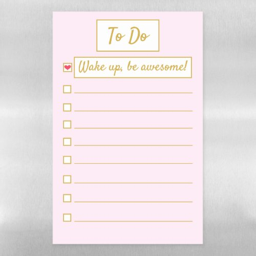 Wake Up, Be Awesome, Repeat Pink & Gold 11 x 17 Magnetic Dry Erase Sheet