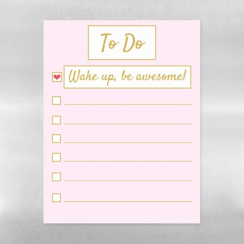 Wake Up, Be Awesome, Repeat Pink & Gold Letter Magnetic Dry Erase Sheet