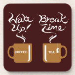 Wake up! break time beverage coasters