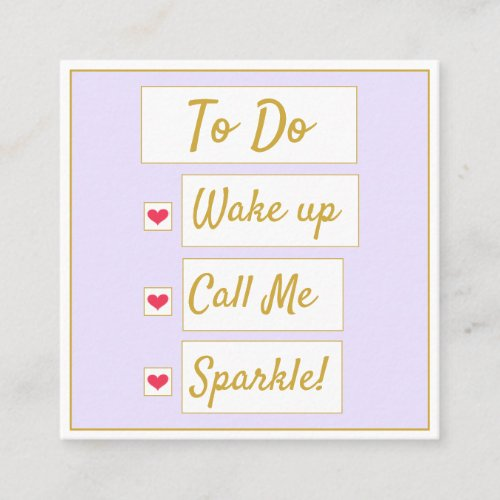 Wake Up, Call Me, Sparkle Purple & Gold Square Business Card