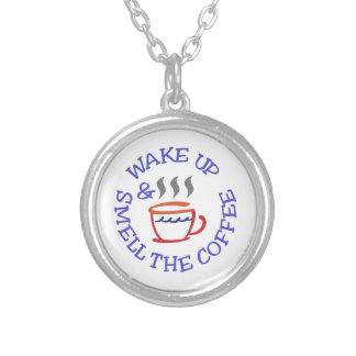 Wake Up Coffee Silver Plated Necklace