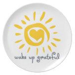 Wake Up Grateful Dinner Plate