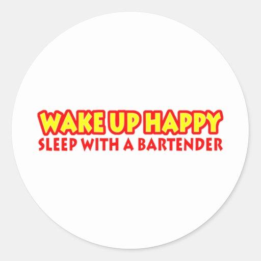 Wake Up Happy Classic Round Sticker