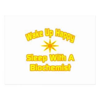 Wake Up Happy Sleep With a Biochemist Postcards