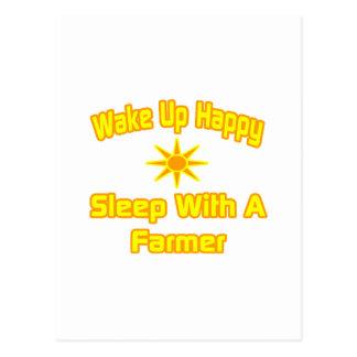 Wake Up Happy ... Sleep With a Farmer Postcard