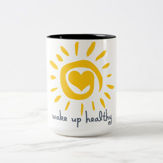 Wake Up Healthy Two-Tone Coffee Mug