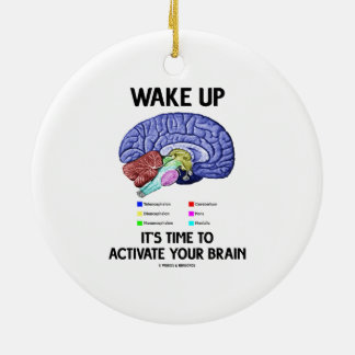 Wake Up It's Time To Activate Your Brain (Humor) Ceramic Ornament