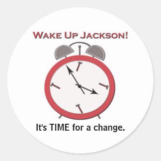 WAKE UP JACKSON large Classic Round Sticker