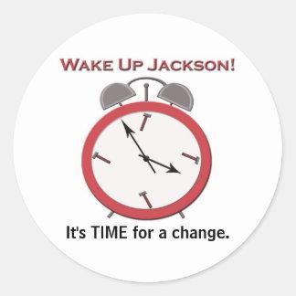 WAKE UP JACKSON small Classic Round Sticker