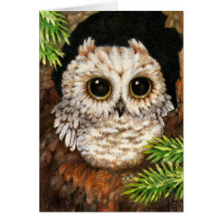 Wake Up, Little Owl - Cute Forest Baby Art Card