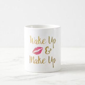 Wake Up & Make Up Mug // Faux Gold Foil Coffee Cup
